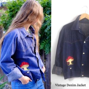 70s Vintage Denim Jacket, one of a kind embroidery